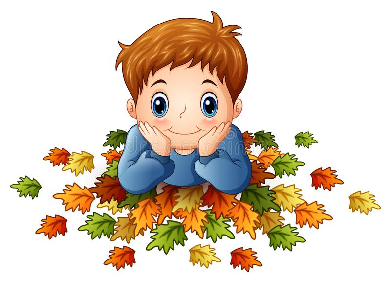 Cute little boy with autumn leaves vector illustration