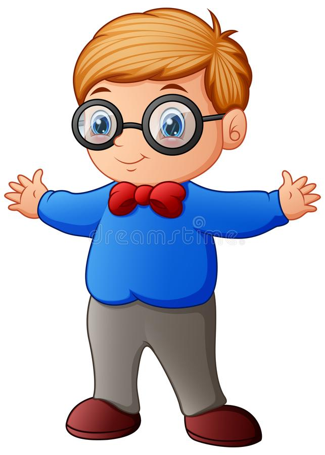 Cute little boy in blue shirt and eyeglasses stock illustration