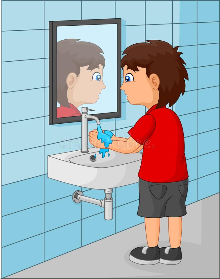 Cute little boy washing his hands in the bathroom. Illustration of Cute little boy washing his hands in the bathroom vector illustration
