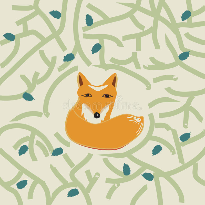 Download Illustration Of A Cute Little Fox In A Forest Stock Vector - Illustration of fauna, animal: 39502470