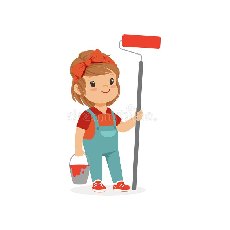 Flat vector illustration of cute little girl standing with bucket and paint roller in hands isolated on white. Child. Illustration of cute little girl with royalty free illustration