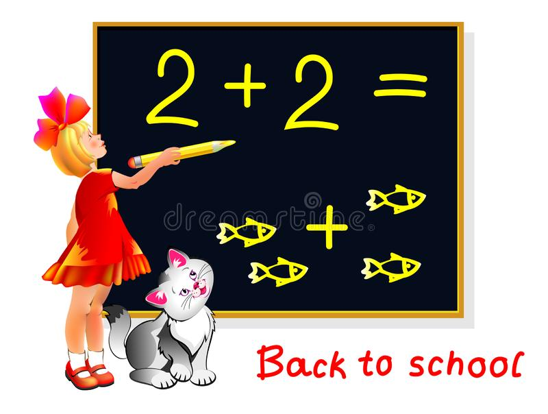 Illustration of cute little girl learning count and write numbers. Back to school. Cover for kids textbook. royalty free illustration