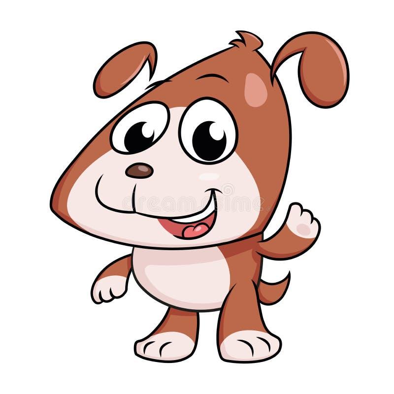 Puppy waving hand vector illustration