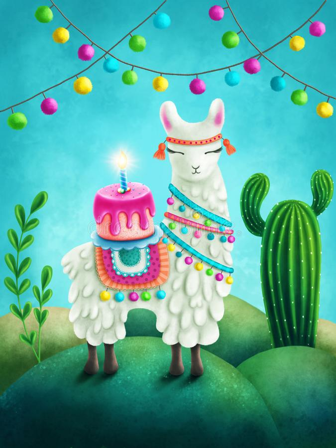 Download Cute llama stock illustration. Illustration of calm - 115326746