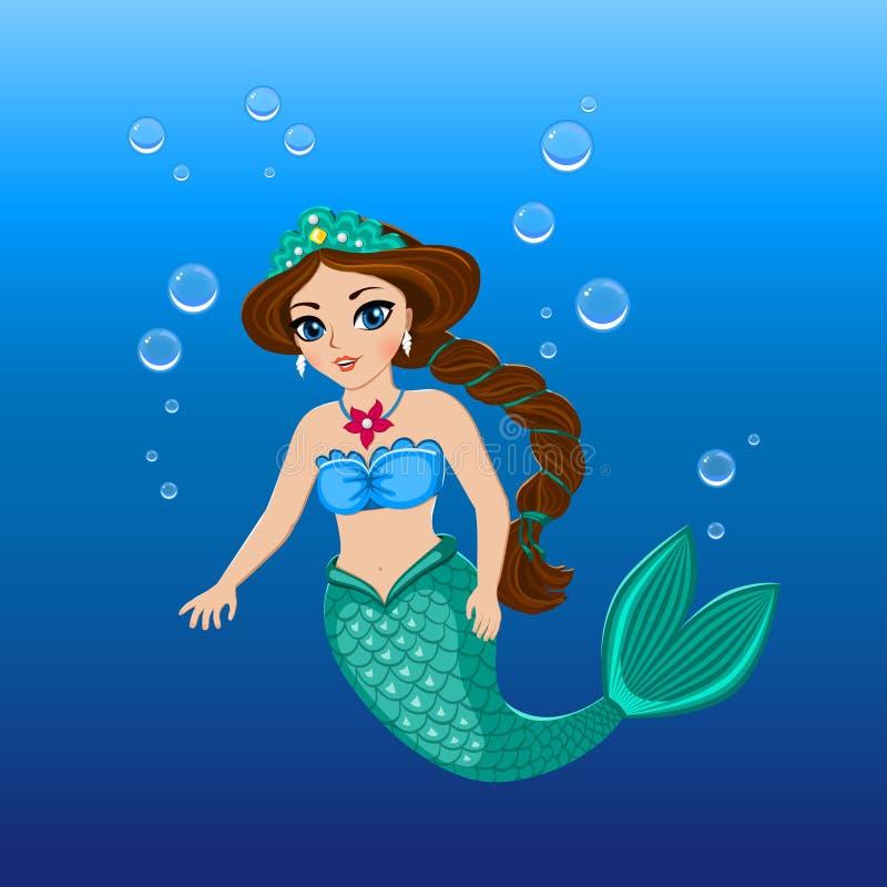 Illustration of a cute mermaid girl under the sea royalty free illustration