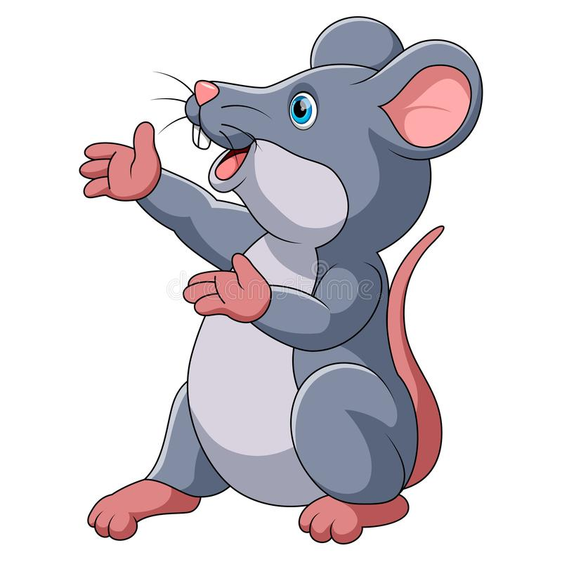 Cute mouse cartoon presenting vector illustration