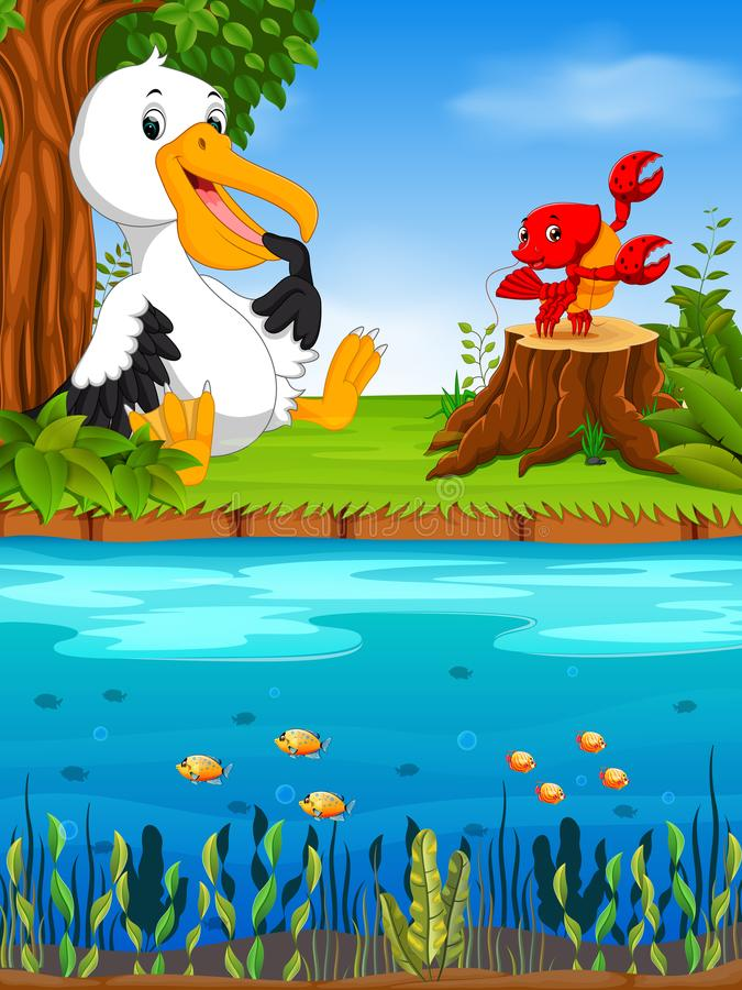 Cute pelican and lobster in the river royalty free illustration