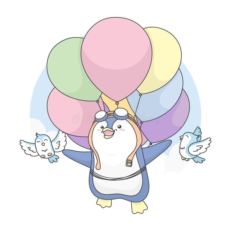 Illustration Cute Penguin kann mit Vögeln fliegen und Ballon verwenden vektor abbildung