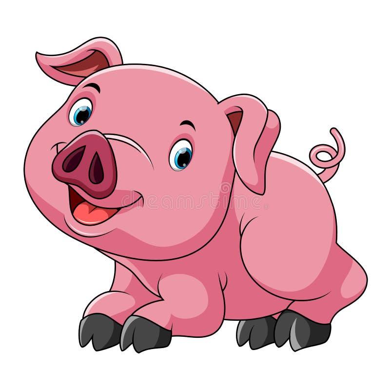 Cute pink pig cartoon royalty free illustration