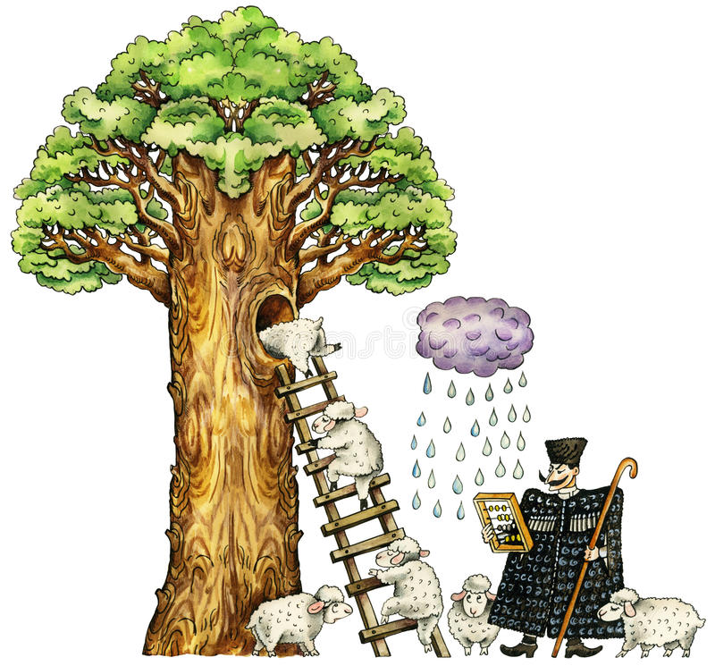 Illustration of cute sheep and shepherd. Illustration of cute sheep, hiding from a rain in hollow of enormous tree trunk, and caucasian shepherd. Isolated on vector illustration
