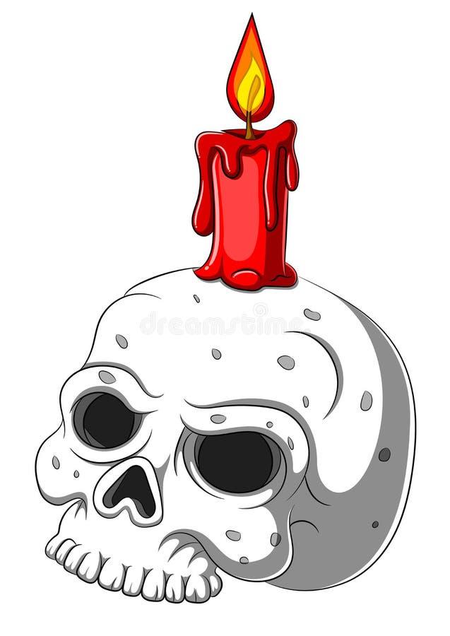 Cute skull candle holder isolated on white background royalty free stock photo