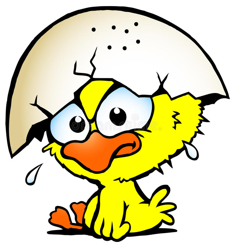 Illustration of an cute unhappy baby chicken