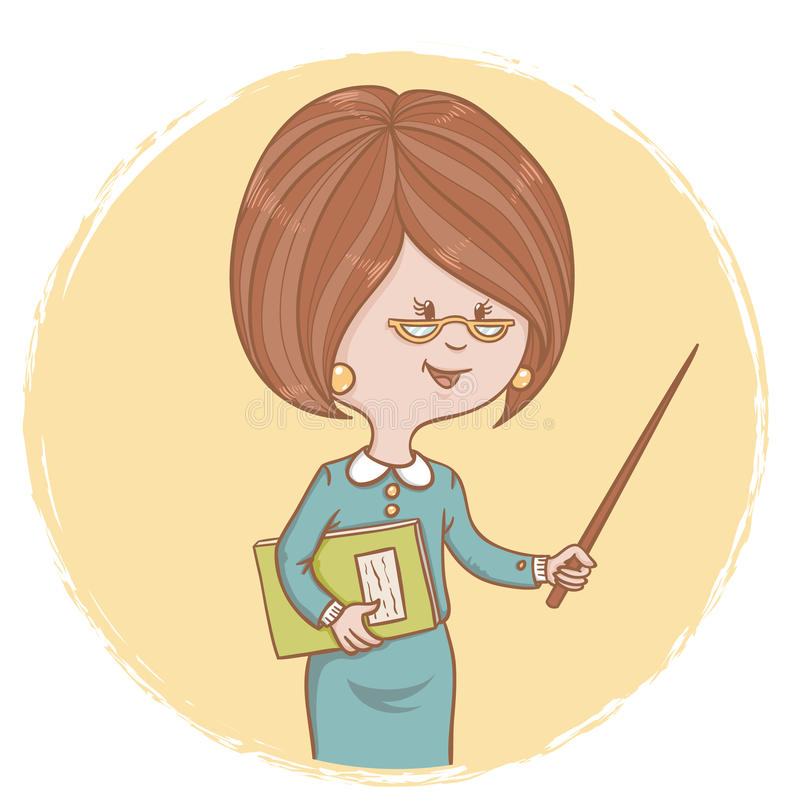 Illustration of cute woman teacher with a book and