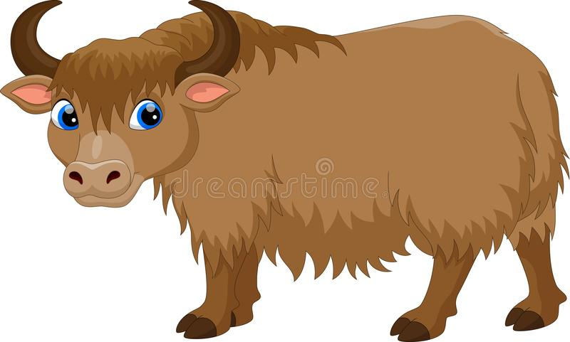 Illustration of cute yak cartoon vector illustration