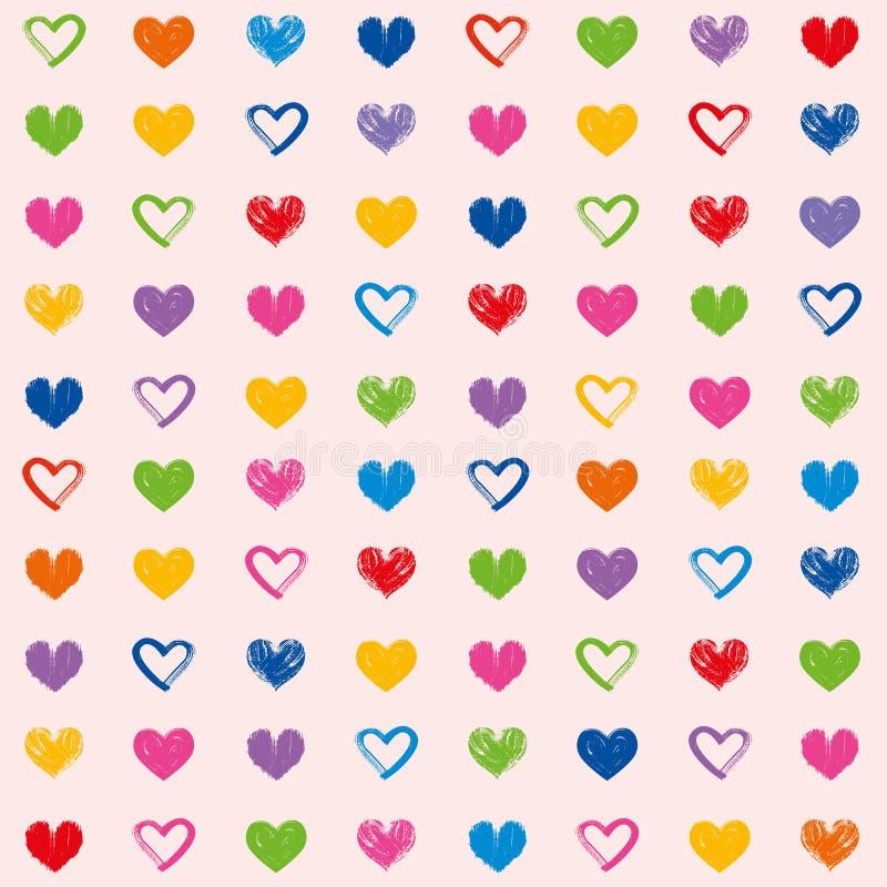 Illustration décorative de coeurs de thème d'amour de valentine du jour de modèle de fond sans couture grunge de papier peint illustration libre de droits