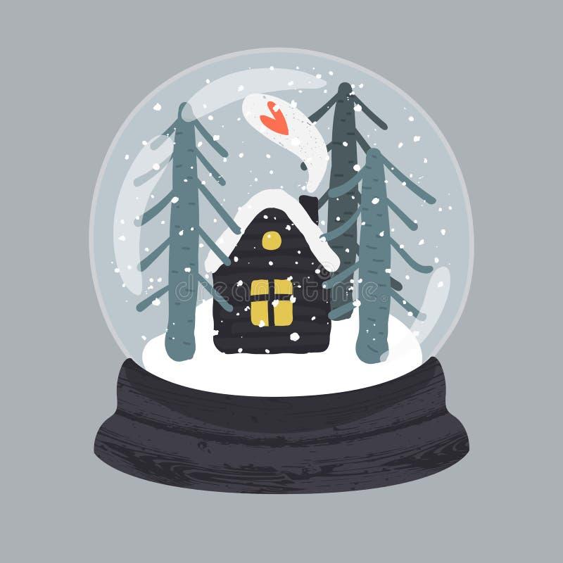 Illustration décorative de globe tiré par la main de neige illustration de vecteur