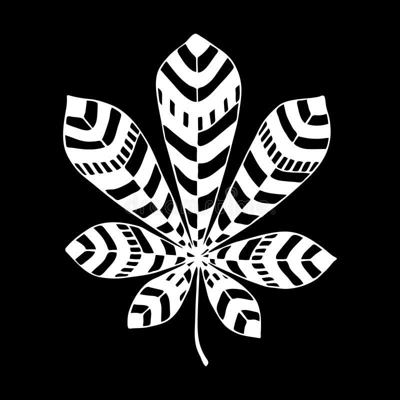 Illustration décorative eps10 de vecteur de symbole de feuille florale de châtaigne illustration libre de droits