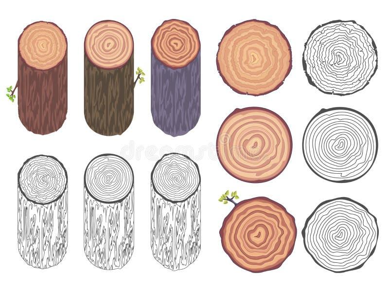 Illustration décorative naturelle de vecteur d'ensemble d'éléments de conception d'écorce de baril de tronc d'arbre de coupe de s illustration libre de droits