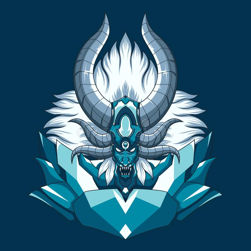 Illustration démoniaque de vecteur de monstre de dragon Illustration principale de démon mythique avec des klaxons et des crocs illustration de vecteur
