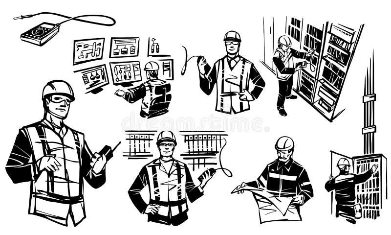 Illustration dépeignant des ingénieurs d'automation illustration stock