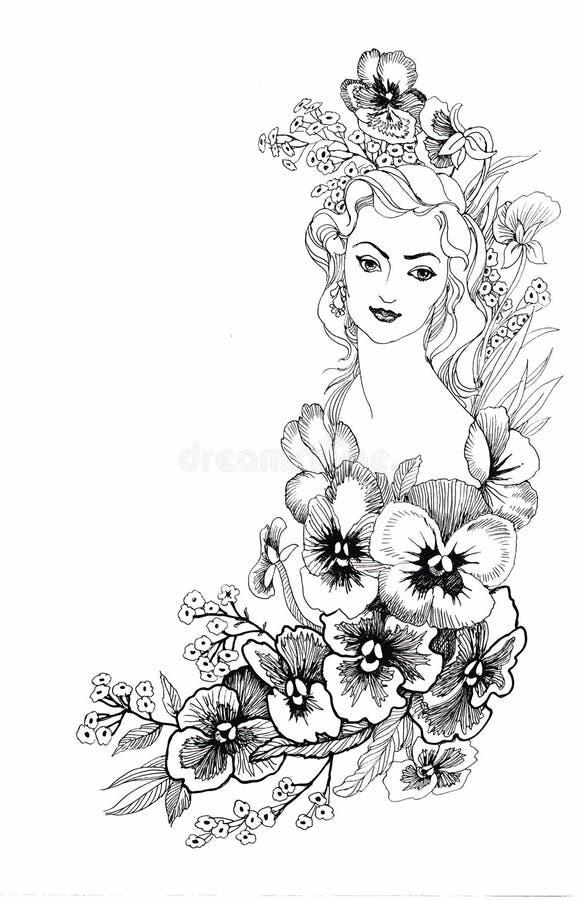 Illustration, dépeignant un portrait de belle jeune femme avec des fleurs illustration de vecteur