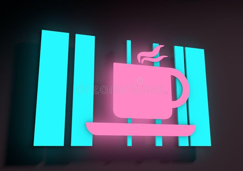 Illustration dépeignant un signe au néon lumineux de café illustration de vecteur