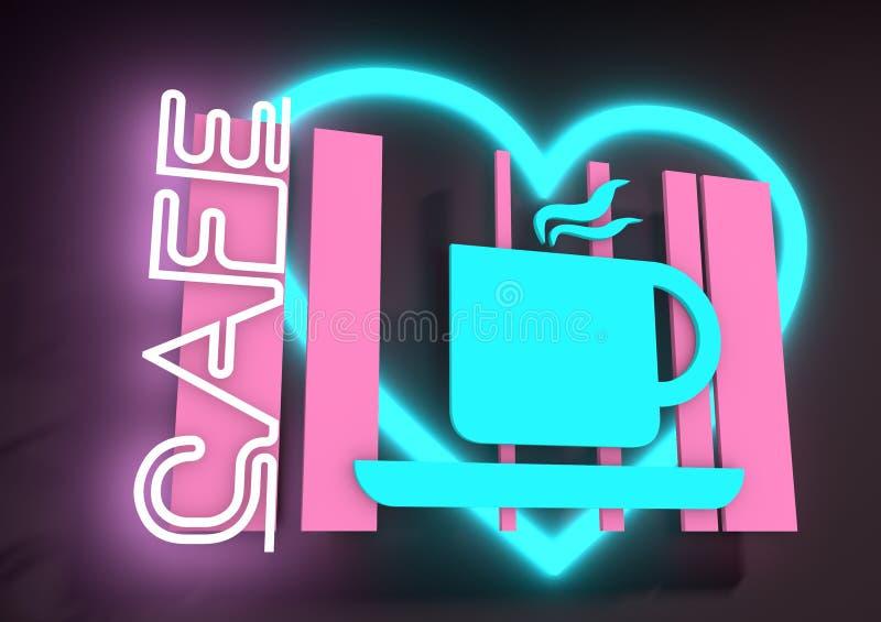 Illustration dépeignant un signe au néon lumineux de café illustration libre de droits