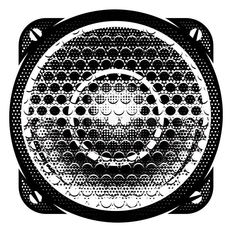 Illustration détaillée monochrome de vecteur élégant avec le haut-parleur illustration libre de droits
