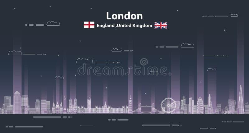 Illustration détaillée paysage urbain de Londres de vecteur de style de schéma fond plus de ma course de portefeuille illustration stock