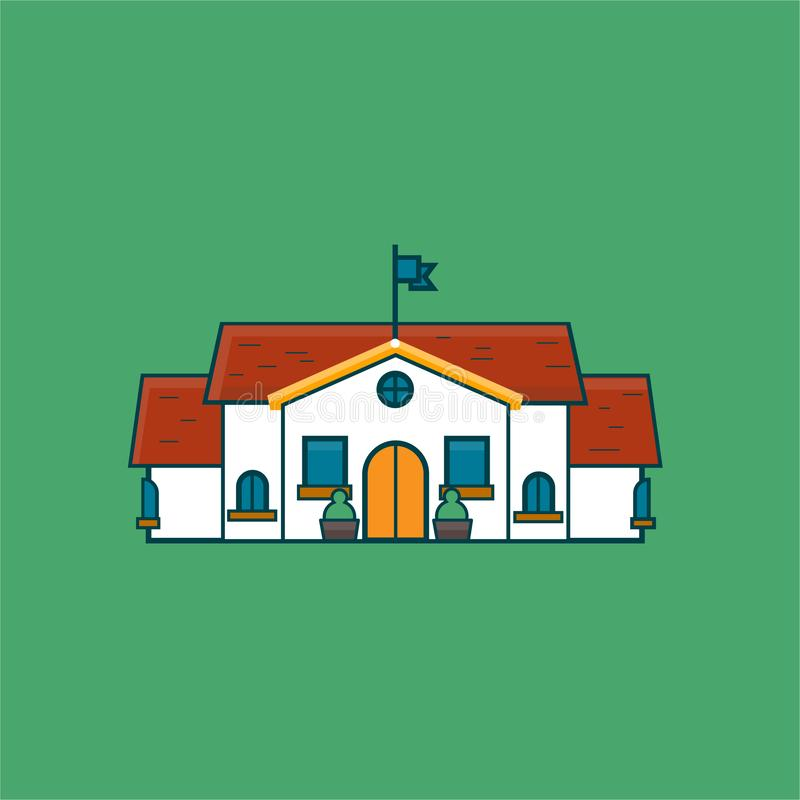 Illustration d'école avec le drapeau, fenêtres image stock