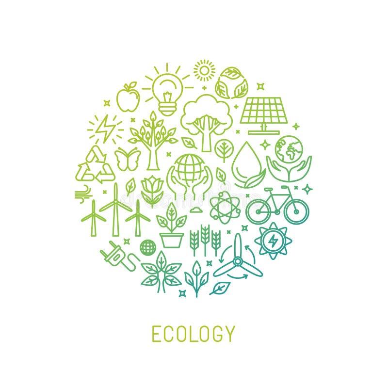 Illustration d'écologie de vecteur avec des icônes illustration stock