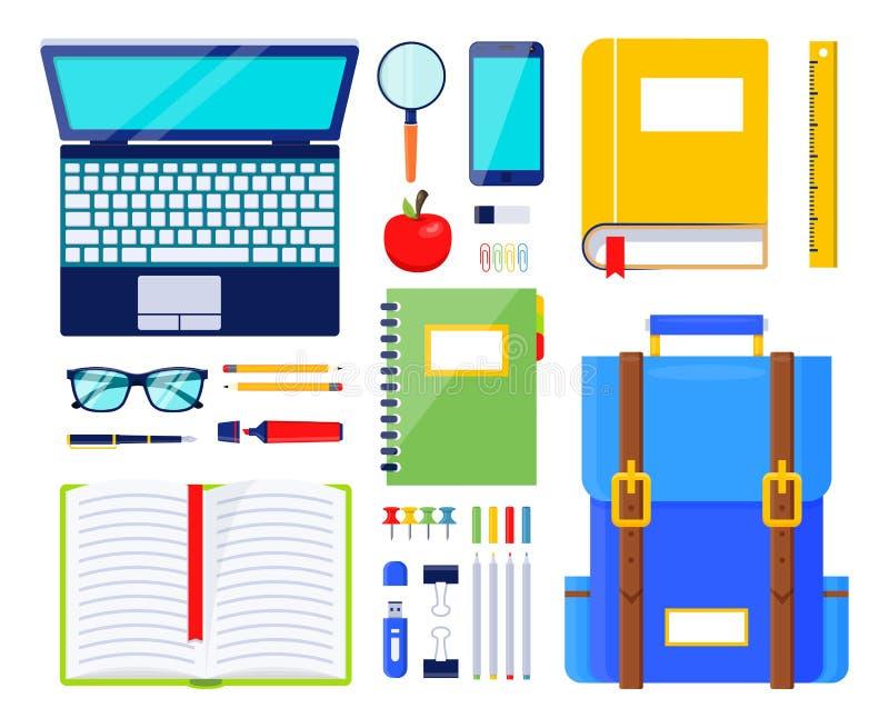 Illustration d'éléments d'éducation Papeterie et approvisionnements d'?cole Illustration de règle et sac à dos, stylo et verres illustration libre de droits
