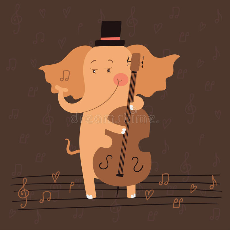 Illustration d'éléphant jouant la double basse images stock
