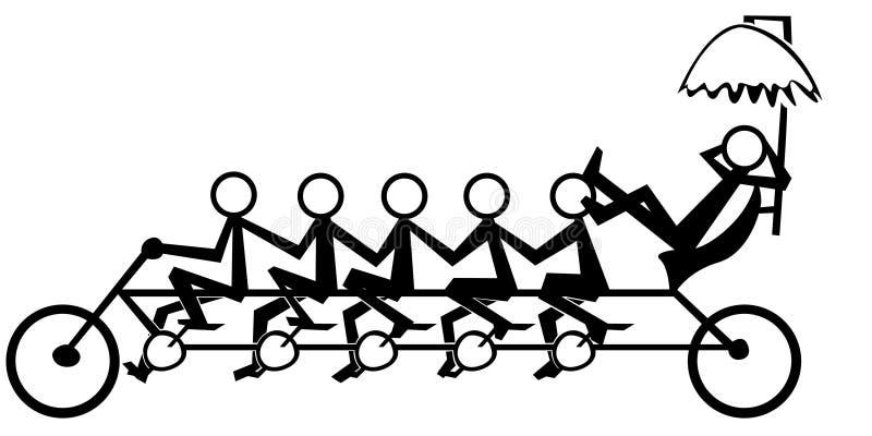 Illustration d'équipe travaillant à la bicyclette illustration stock