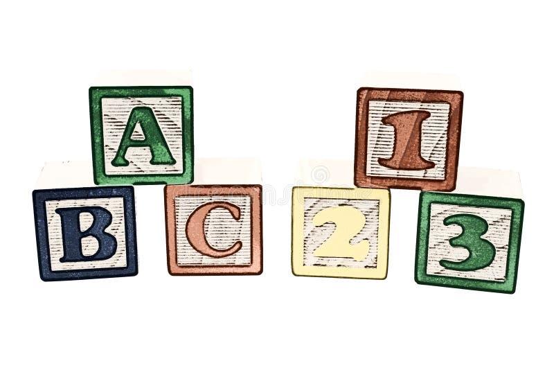 Illustration d'ABC et de 123 blocs illustration libre de droits