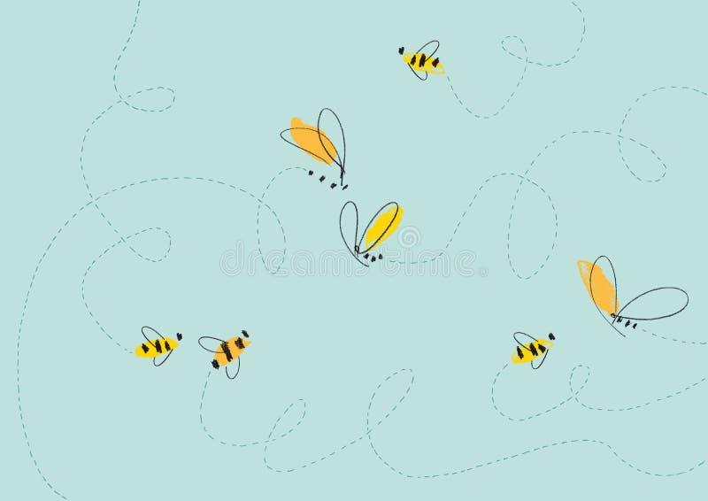 Illustration d'abeilles de vol illustration libre de droits