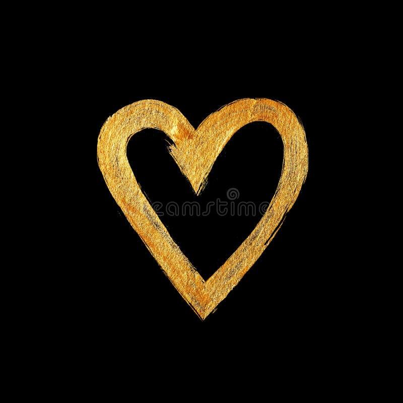 Illustration d'abrégé sur tache de peinture de texture d'aquarelle de feuille d'or d'amour de coeur Course brillante de brosse po photos stock