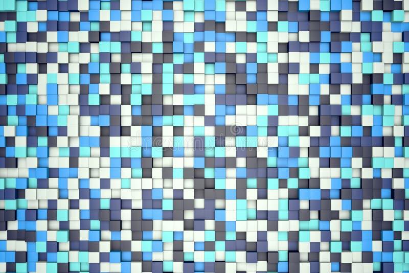 Illustration 3d: abstrakter Hintergrund des Mosaiks, farbige Blöcke Weiß, hell und dunkelblau, Türkis, azurblaue Farbe Eiswinter  vektor abbildung