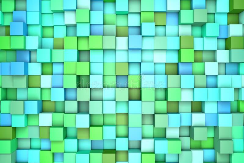 Illustration 3d: abstrakter Hintergrund, farbige grün-blaue Farbe der Blöcke Strecke der Schatten Wand der Würfel Pixelkunst vektor abbildung