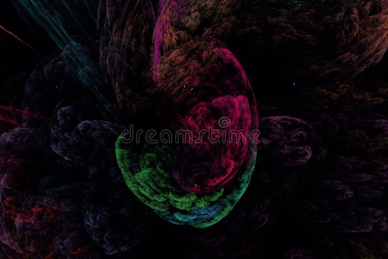 Illustration d'Abstrct Digital Paysage fantastique de montagne de nuit, dessus illustration libre de droits
