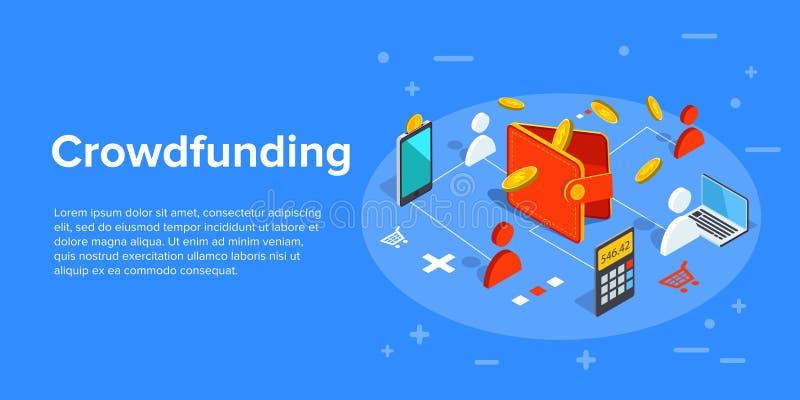 Illustration d'affaires de vecteur de Crowdfunding dans la conception isométrique C illustration libre de droits