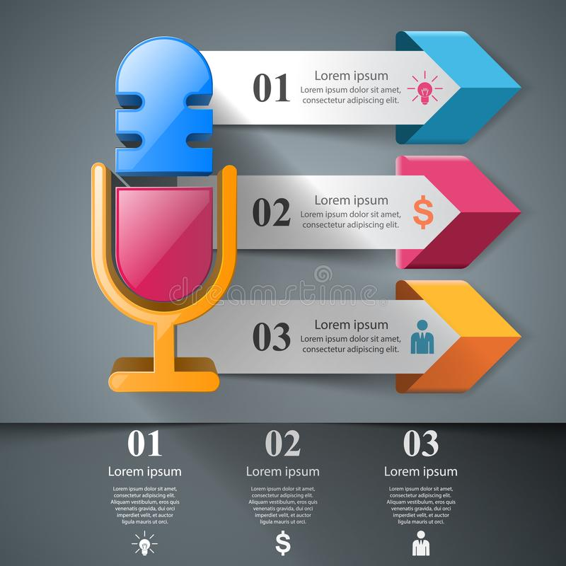 Illustration d'affaires - microphone infographic illustration libre de droits