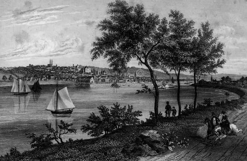 Illustration d'Albany Hudson River New York Landscape illustration libre de droits