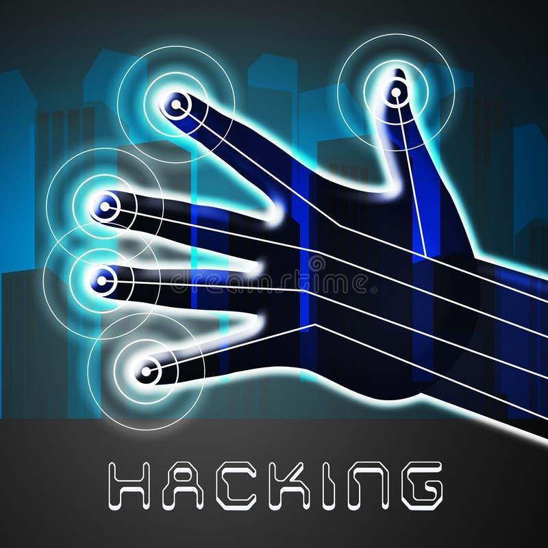 Illustration d'alerte sécurité de Cyber entaillée par site Web 2d illustration stock