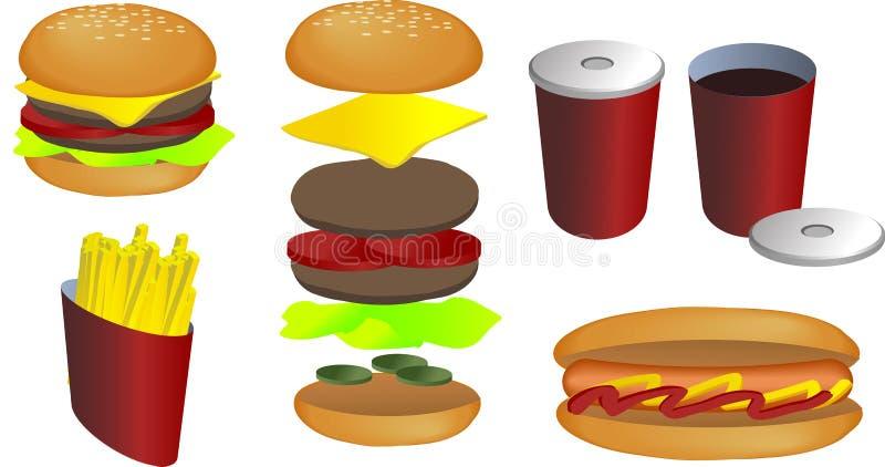 Illustration d'aliments de préparation rapide illustration stock