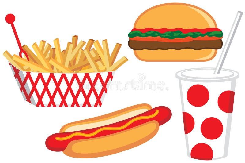 Illustration d'aliments de préparation rapide illustration libre de droits