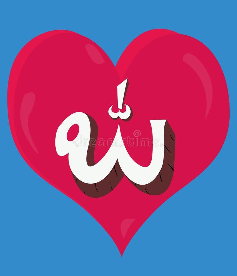 Illustration d'Allah d'amour, avec la couleur rouge illustration libre de droits