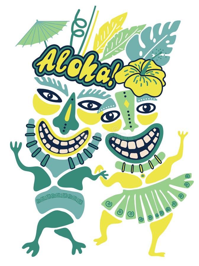 Illustration d'Aloha Tiki de cru, partie tropicale de Tiki, temps de partie d'Hawaï, barre de Tiki, Aloha copie de T-shirt d'Hawa photo libre de droits