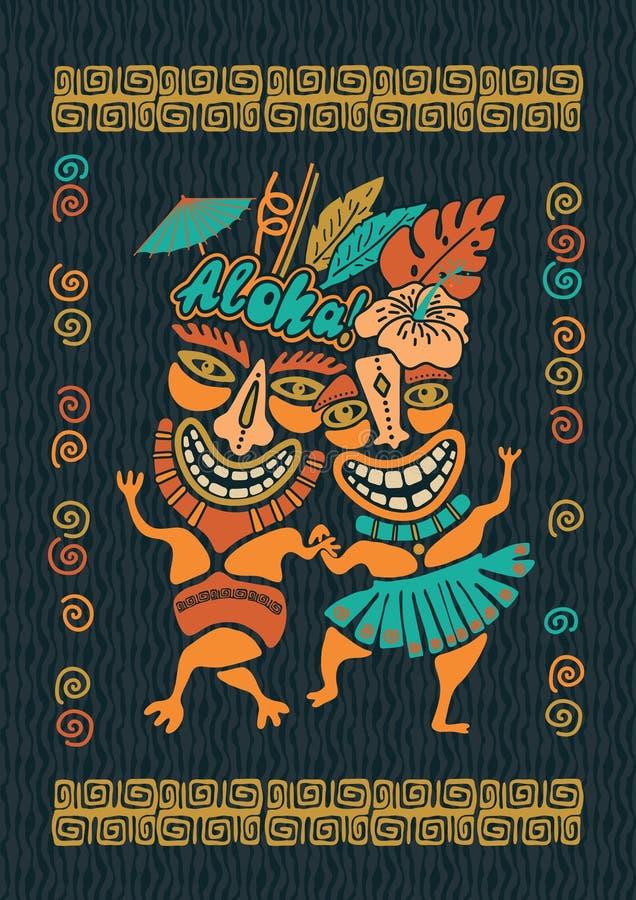 Illustration d'Aloha Tiki de cru, partie tropicale de Tiki, temps de partie d'Hawaï, barre de Tiki, Aloha copie de T-shirt d'Hawa photographie stock