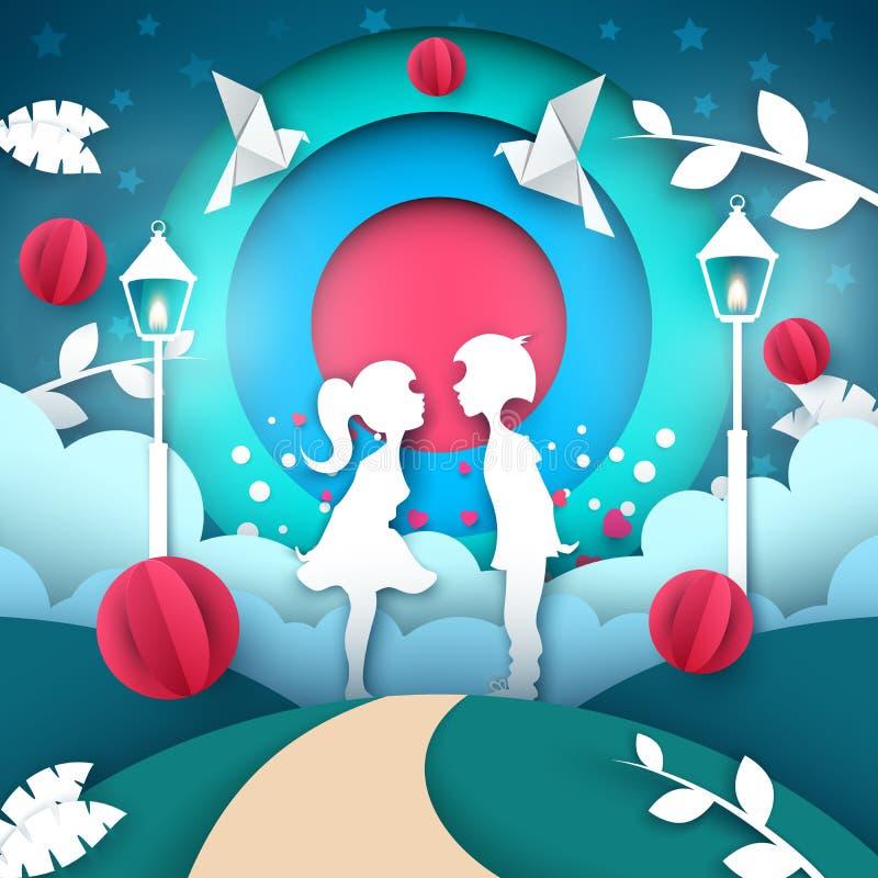 Illustration d'amour de garçon et de fille Paysage de papier de bande dessinée Rose rouge illustration stock
